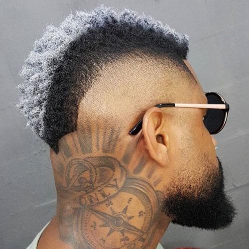 Burst Fade Mohawk + Thick Beard - Haircut for Black Men