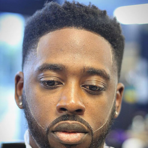 High Fade + Line Up + Cool Beard Design - Haircut for Black Men
