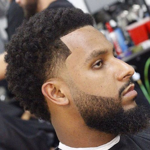 Low Drop Fade + Edge Up + Afro - Haircut for Black Men